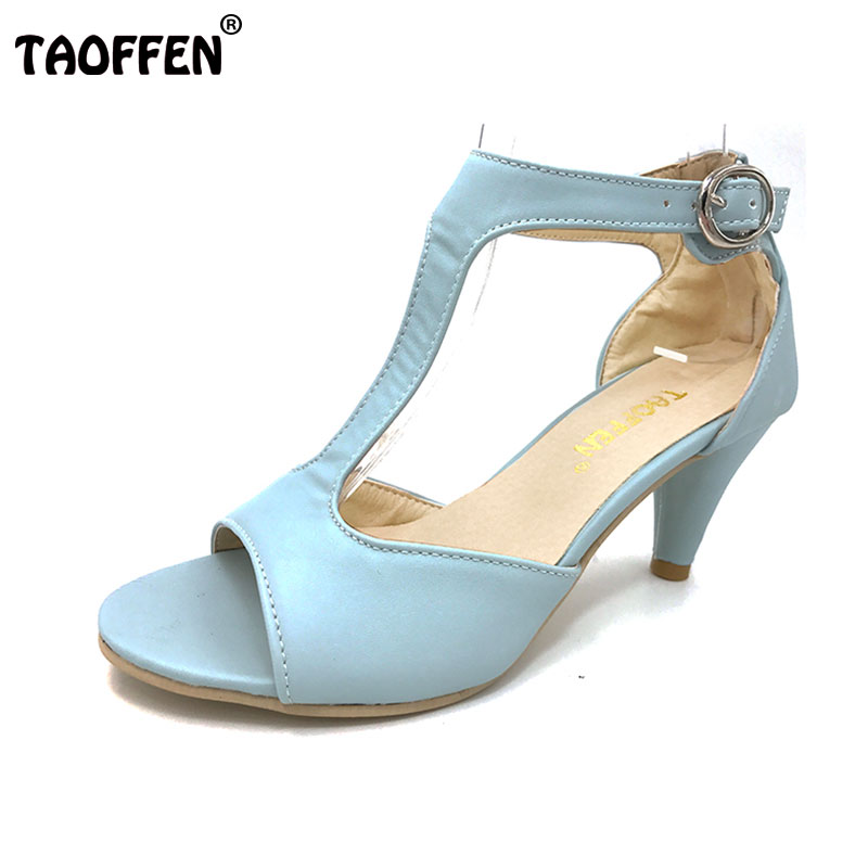 TAOFFEN Party High Heel Shoes Woman Sexy Peep Toe Thin Heels Summer Sandal Ankle Strap Sandals Women Shoes Size 34-43 PA00517 coolcept size 33 43 women real leather high heel sandals open toe ankle strap rivets summer shoes woman party club sandal