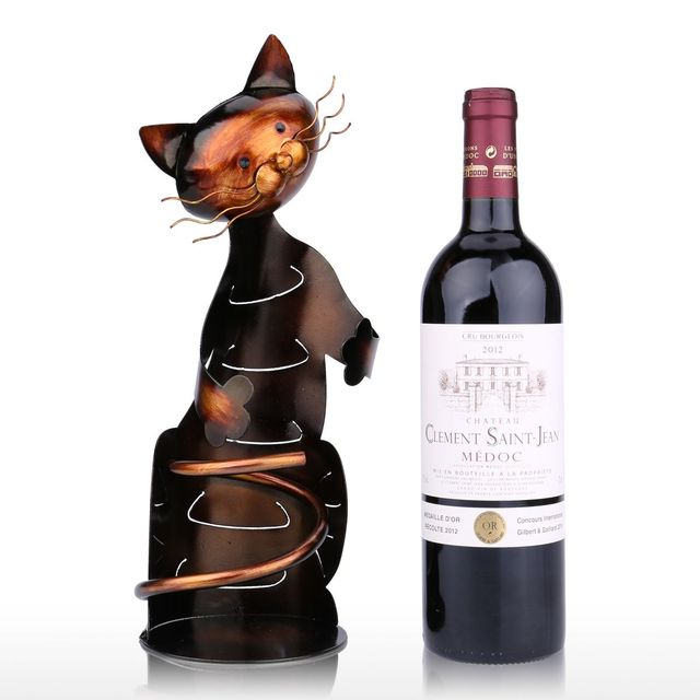 TOOARTS Cat Wine Rack Wine Holder Shelf Metal Sculpture Practical Sculpture Wine stand Home Decoration Interior Crafts 4