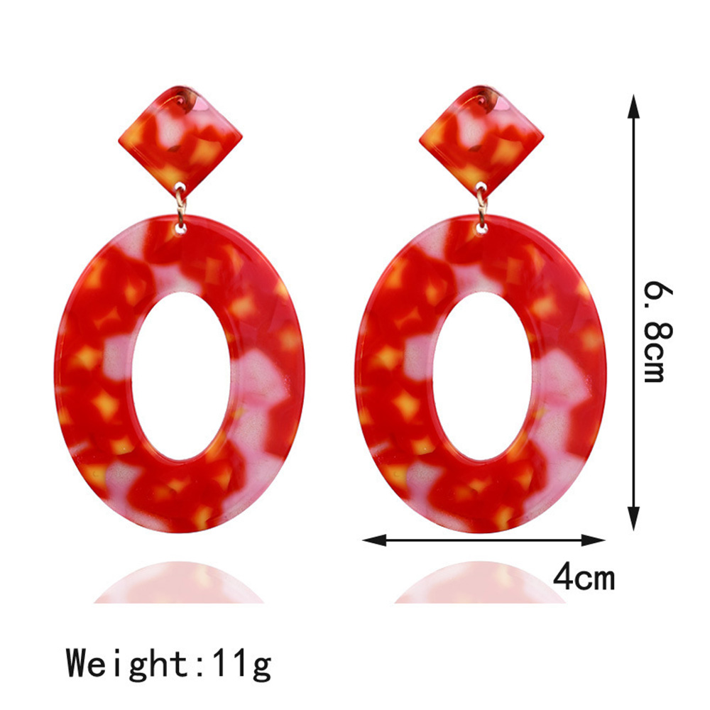 2019 New Fashion Women Drop Wedding Earrings Geometric Round Tortoise Earrings Acrylic Color Resin Pendant Earrings Accessories in Drop Earrings from Jewelry Accessories