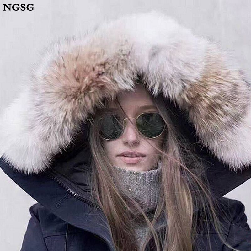 NGSG Real Coyotes fur Hood Collar Down Jacket Jacket Genuine Fur Wolf collar 55cm Natural Stripe Fur Hat Collar Scarf Wholesale