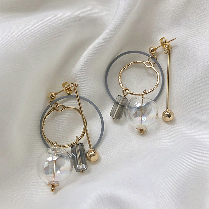 Original Cool Geometric Bubble Dangle Earrings For Women 2019 Unique Gold Tone Glass Ball Drop Earrings Top Quality Bijoux(China)