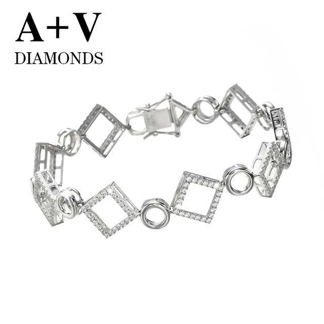 free shipping 18K white gold nature diamond modern stylish bracelet  for women engagement wedding