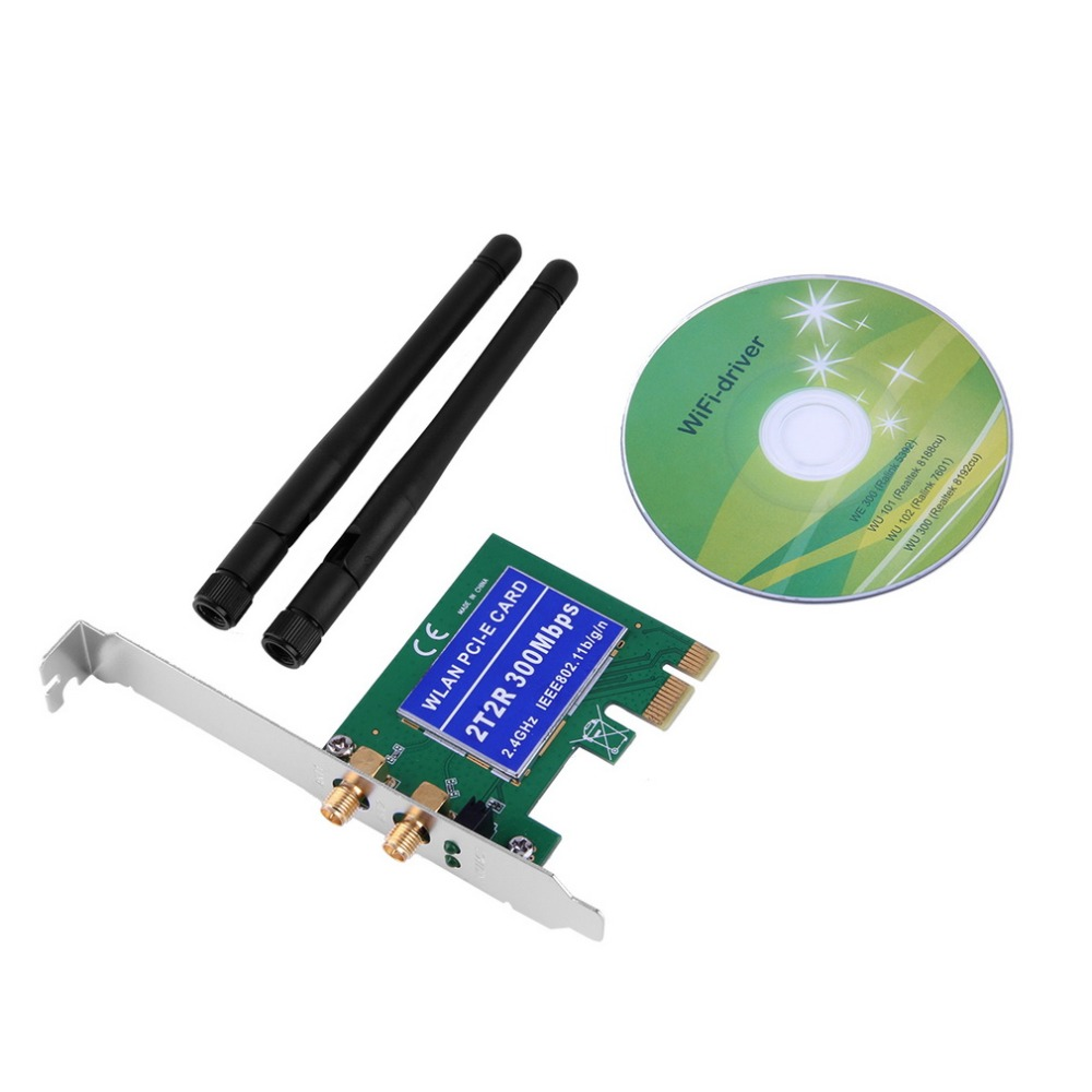 HI Computer Store Wireless 300M Built-in Network PCI-1 Express Adapter Card 802.11B/G/N Antenna PCI Network Card