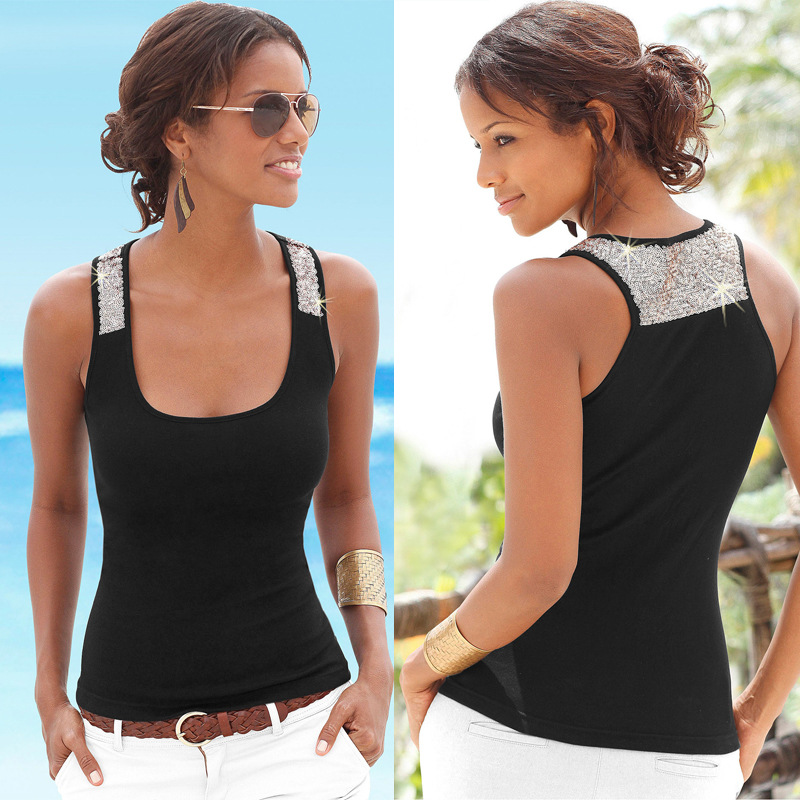 Slim Casual Women   Tank     Top   Solid Color Sequined Sleeveless O-Neck Sexy T-shirt 2019 Fashion Summer Female T-shirt Beach Clothing