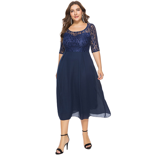 US $34.99 |2019 Women Spring Autumn Lace Dress O Neck Half Sleeve Plus Size  6XL Patchwork Navy Blue Mid Calf Chiffon Dress Club Party Dress-in Dresses  ...