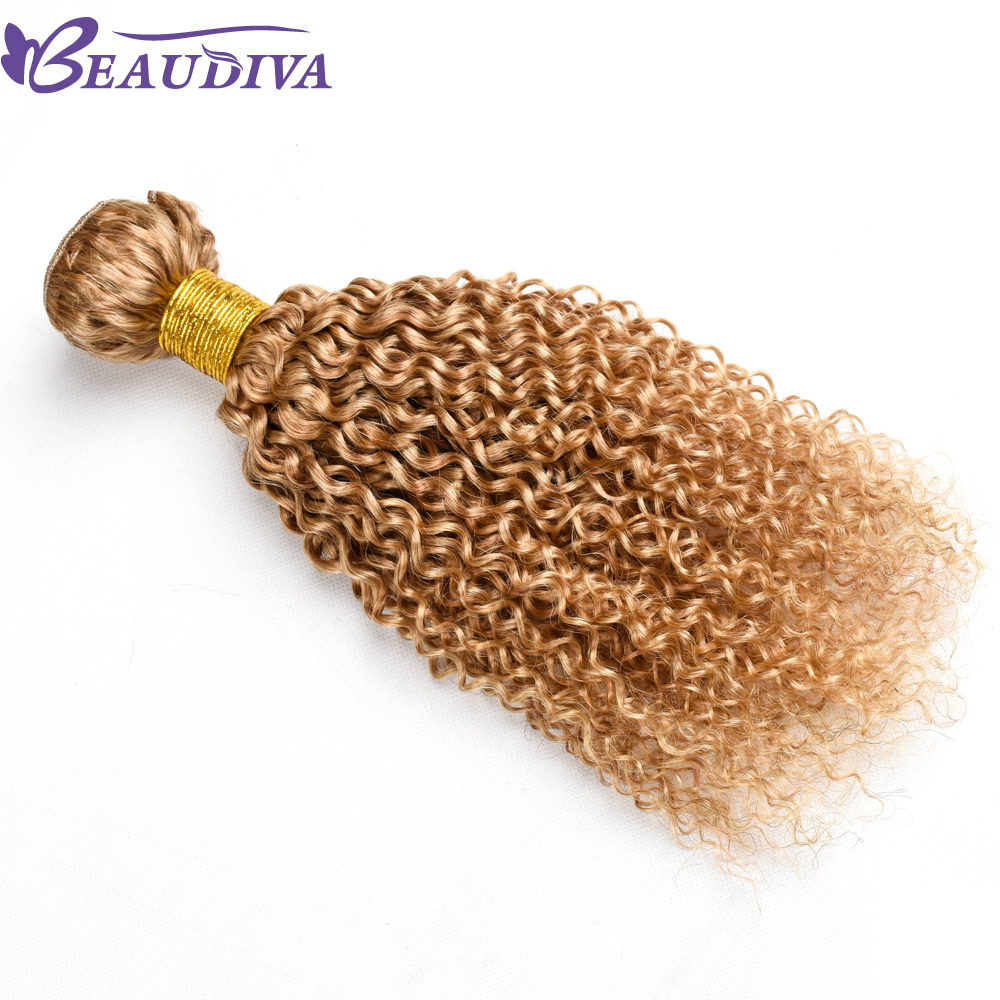 Beaudiva Hair Peruvian Kinky Curly Hair Bundles Human Hair Extensions Double Weft Remy Hair Weave Bundles 10-26 27# 1PC