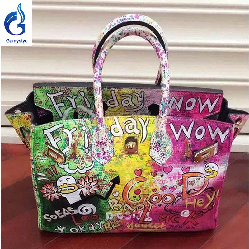 Women's Purse Stylish Handbag Handmade Genuine Leather Ladies Messenger Bag Hand Painted Cow Skin Women Shoulder Sling Bag Y