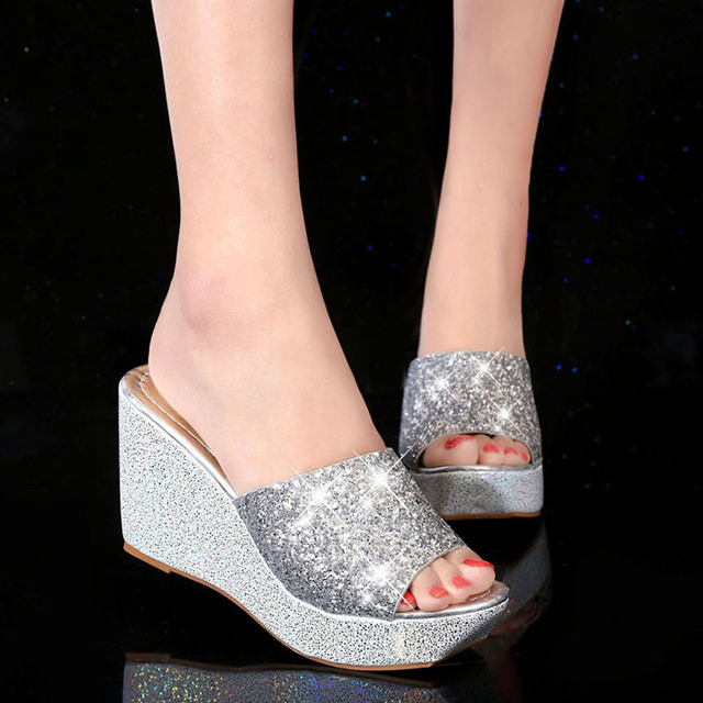 f41f70517f527 Women Glitter Bling Gold Metallic Sandals High Heels Ladies Slippers Wedge  Peep Toe Shoes Summer Sandals 2018 Hot Sale
