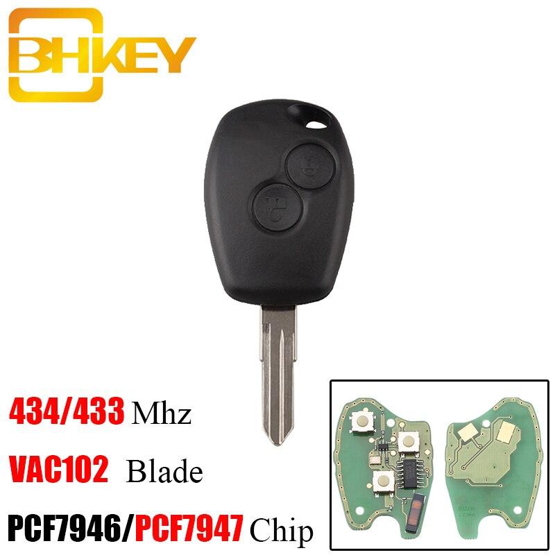 BHKEY 2 Tasten VAC102 Blade Remote Key Für Renault Megane Modus Clio Kangoo Logan Sandero Duster PCF7946/PCF7947 Chip optional