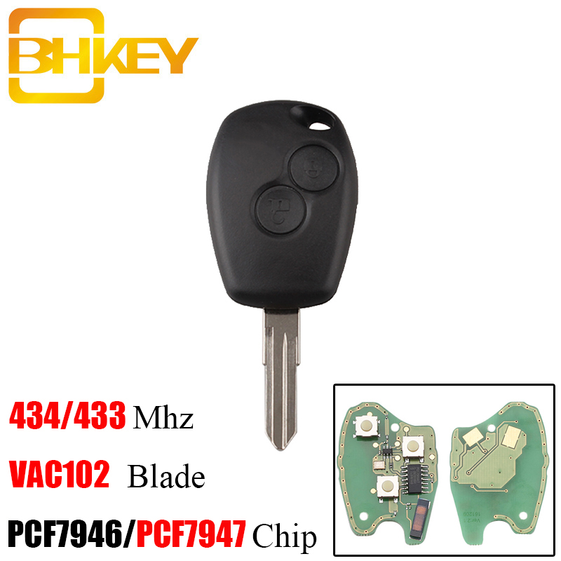 BHKEY 2Buttons VAC102 Blade <font><b>Remote</b></font> <font><b>Key</b></font> <font><b>For</b></font> <font><b>Renault</b></font> <font><b>Megane</b></font> Modus Clio Kangoo Logan Sandero Duster PCF7946/PCF7947 Chip optional image