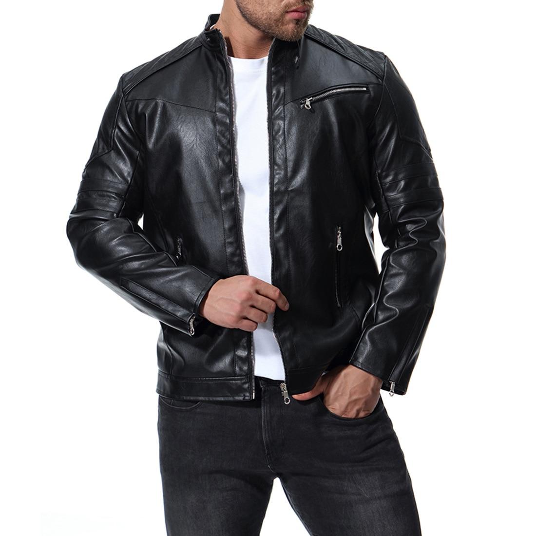 leather jacket men 2018 autumn zipper mens leather jacket slim fit banded mens motorcycle jacket мужские кожанные куртки с косой молнией