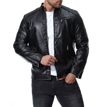leather jacket men 2018 autumn zipper mens slim fit banded motorcycle