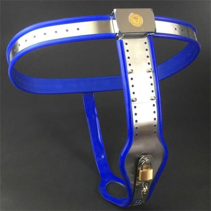Stainless steel female chastity belt blue chastity device bdsm bondage restraints fetish wear sex games sex products for women t type female chastity belt panties stainless steel chastity device adult games sex products for woman bdsm fetish wear
