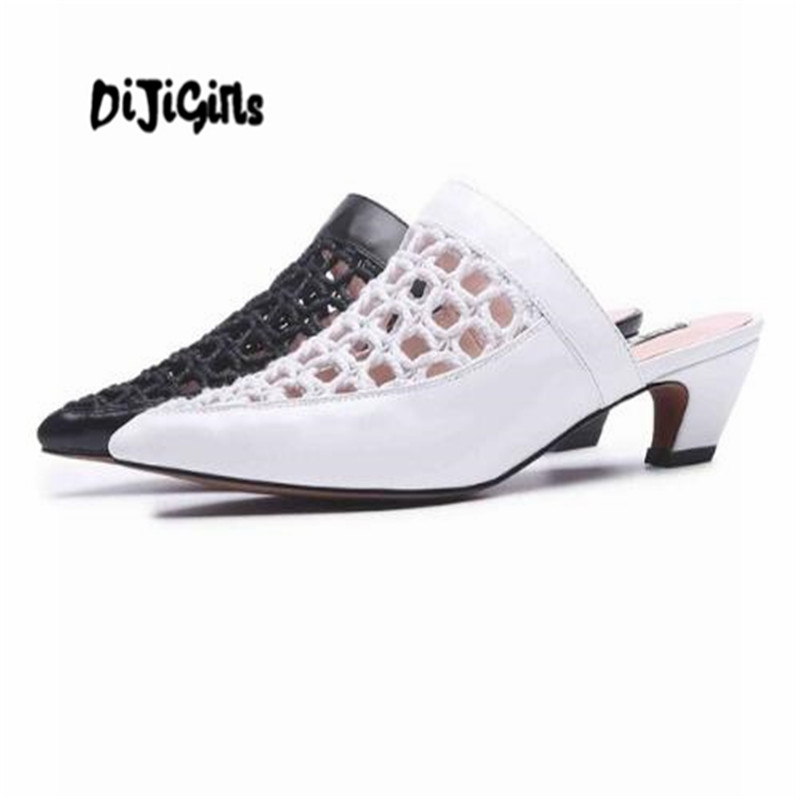Здесь продается  DIJIGIRLS genuine leather handmade woven mesh sandals breathable mules women strange med heels pointed toe summer shoes  Обувь