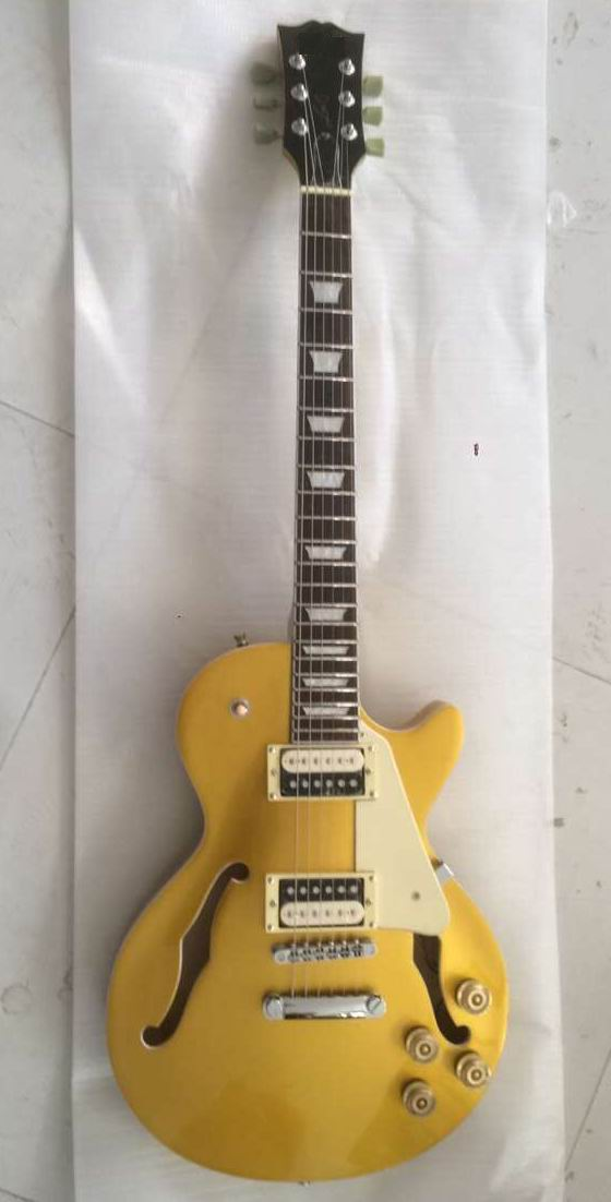 Wholesale Electric Guitars G lP Custom Jazz Model Electric Guitar Semi Hollow F hole1 In Gold 1703020 цена и фото