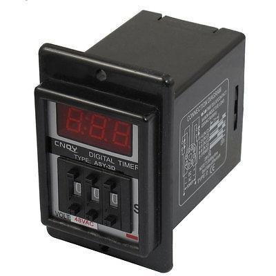Black AC 48V Power on Delay Timer Time Relay 1-999 Second 8 Pins ASY-3D