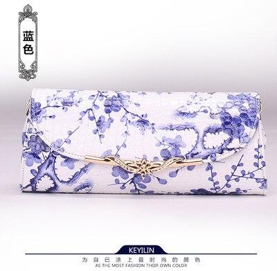 2018 Neue Kreative Ethnischen Eigenschaften Kupplung Tasche Blau Und Weiß Porzellan Muster Schulter Diagonal Tasche