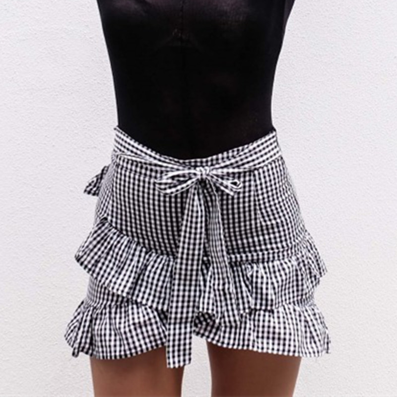 2018 Ruffle Bow Mini Boho Sexy Skirt Girl School Female Sweet Cotton Irregular Plaid Short Skirts High Waist Womens Kawaii Kilt
