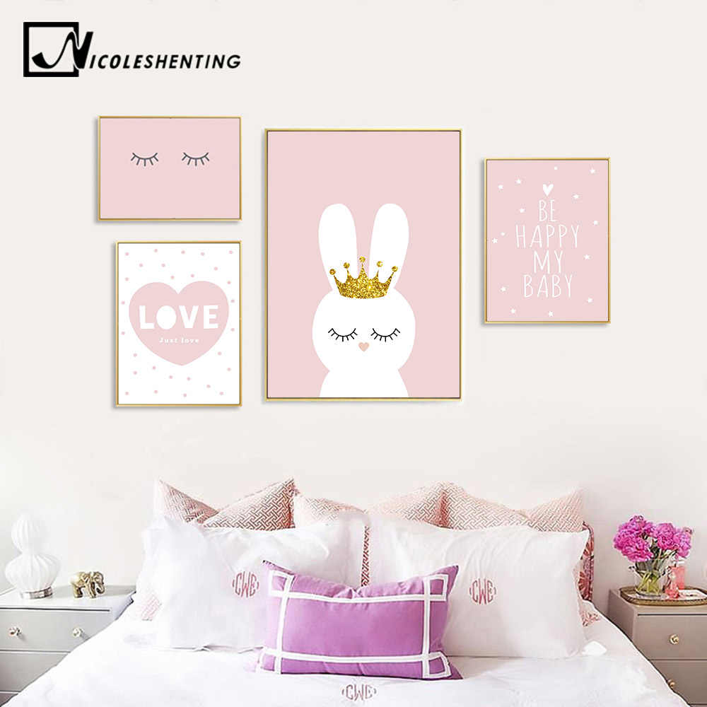 Nursery Wall Art Canvas Poster Minimalist Crown Bunny Print Pink Cartoon Painting Decoration Picture Nordic Baby Girl Room Decor