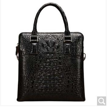 baosidu Men's Handbags crocodile leather vertical leather single shoulder bag business document men's bags black