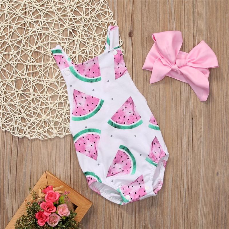HTB1a6PyetqUQKJjSZFIq6AOkFXaS 2018 Summer Cute Baby Girls Romper Jumpsuit Headband Watermelon Printed Outfits Sunsuit Set New 0-24M Children Kids Clothes Hot