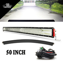 CO LIGHT 50 Curved Led Light Bar Combo 50 Inch Led Driving Beam 8D Lens for