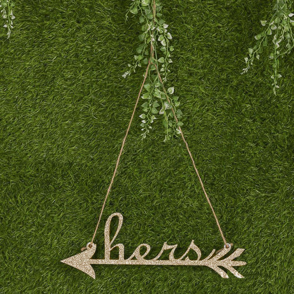 2pcs Wedding Wooden Hanging Arrow Sign for Chair Decoration Photo Props