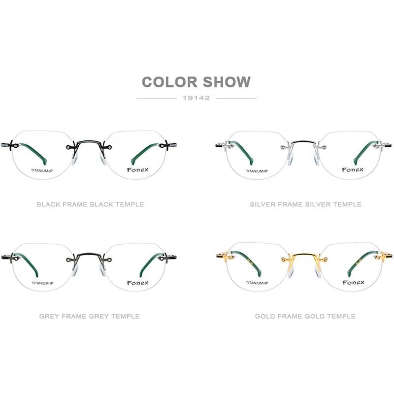Image 5 - FONEX Pure Titanium Rimless Glasses Men Vintage Polygon Prescription Eyeglasses Frame Women Myopia Optical Frames Eyewear 9142-in Women's Eyewear Frames from Apparel Accessories