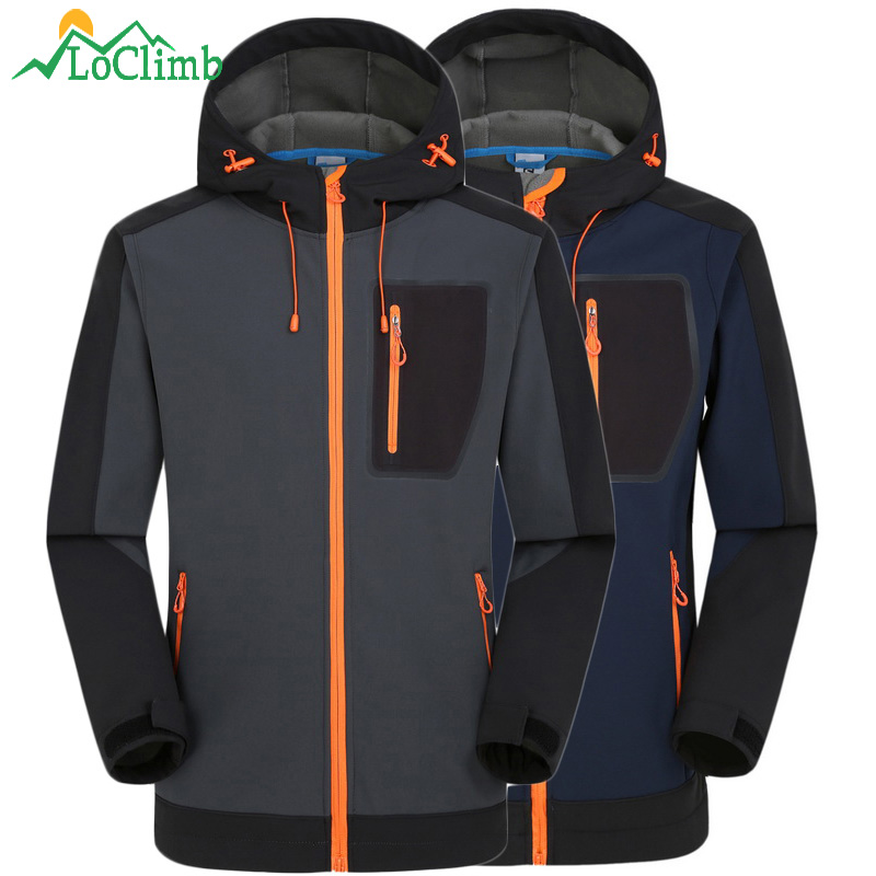 LoClimb Winter Waterproof Softshell Jacket Men Fishing Climbing Windproof Rain Coat Fleece Trekking Ski Hiking Jackets,AM039 стоимость