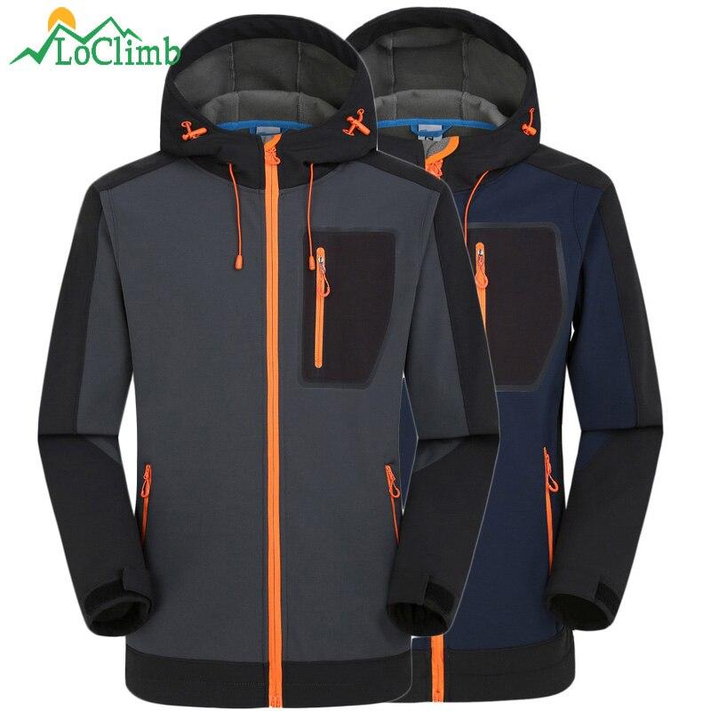 Loclimb зима Водонепроницаемый флисовая куртка Для мужчин Рыбалка восхождение ветрозащитный дождевик флис треккинг лыжный Походные куртки, am039