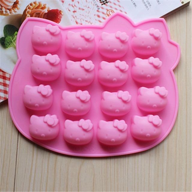1 chiếc Ốp Dễ Thương Muffin Khay Kẹo Cupcake Khuôn Thạch 16 Hello Kitty Máy Nướng Socola Khuôn Nướng bánh Dụng Cụ Nhà Bếp
