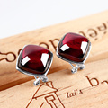 Natural Yellow Agate Earring 925 Silver Women Synthetic Ruby Red Zircon S925 Thai Sterling Silver boucle d'oreille Stud Earrings