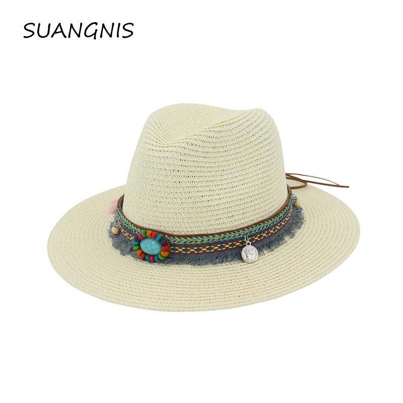 New Spring Summer Bohemia Style Women's Jazz Caps Hats With Wide Birm Women Straw Vintage Hat Floppy Sun Beach Church Cap Gorros