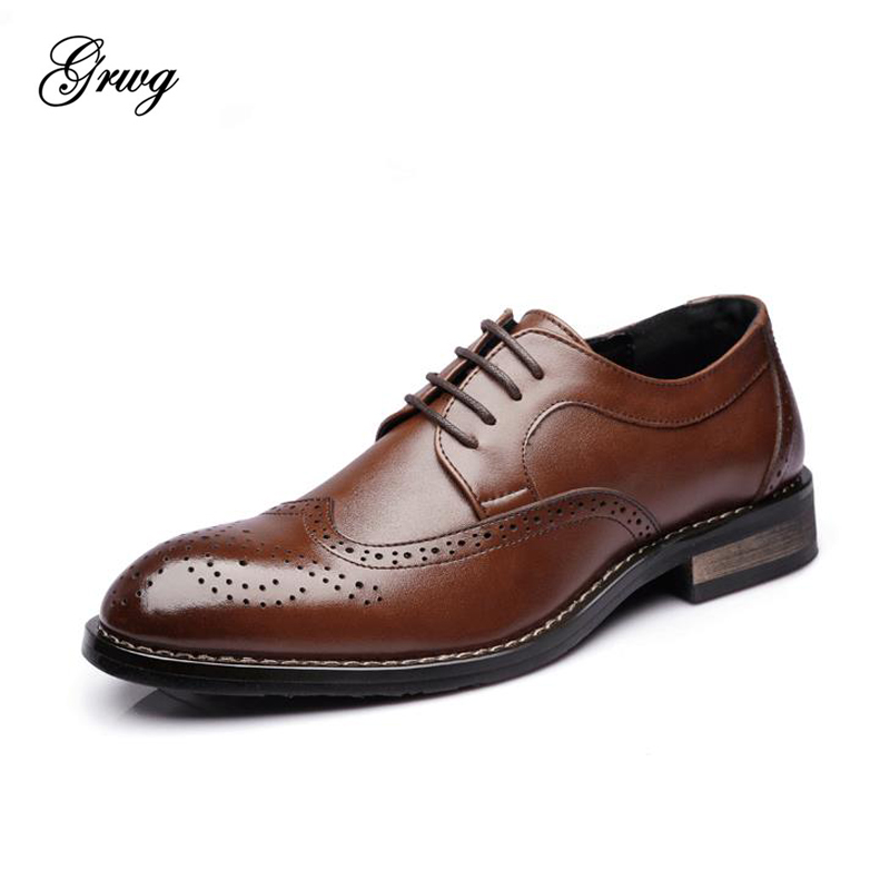 GRWG Brand Formal Men Dress Shoes Genuine Leather Oxfords Men Business Shoes Classic Office Wedding Mens Flats Big Size 38-47