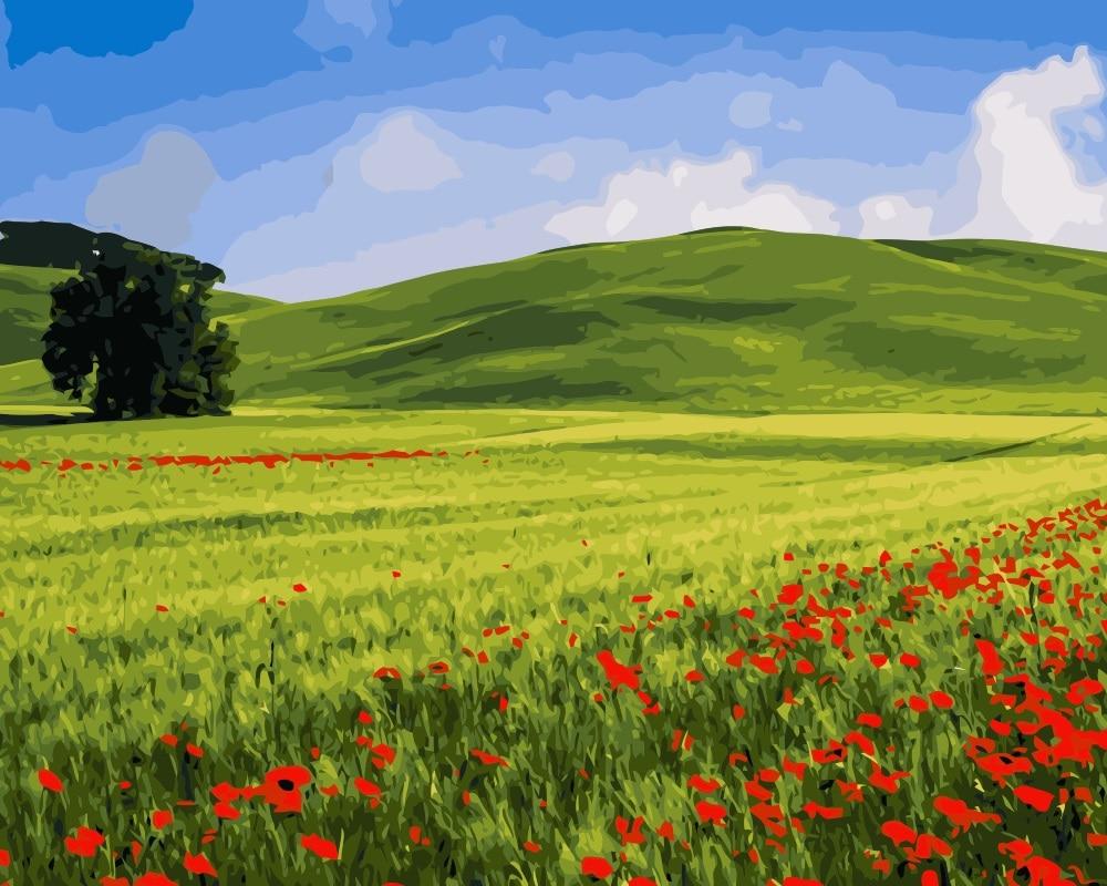 Mahuaf I091 Ete Prairie Collines Paysage Peinture A L Huile Dessin