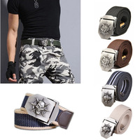 Durable Casual Cool Men Skull Metal Slider Buckle Woven Canvas Thickened Belt