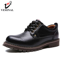 VESONAL Autumn Winter Warm Fur Male Genuine Leather Casual Shoes For Men Adult 2017 Brand Work