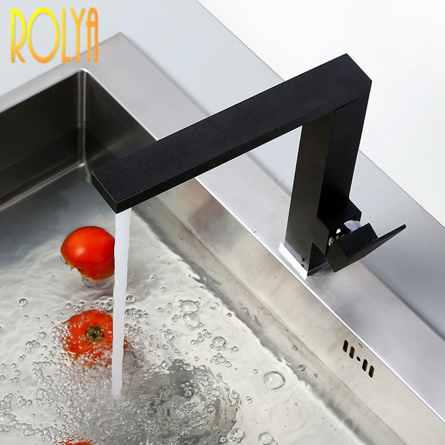 Wholesale Water Saver Square Style Solid Heavy Brass Matte Black Kitchen Sink Faucet Mixer Taps