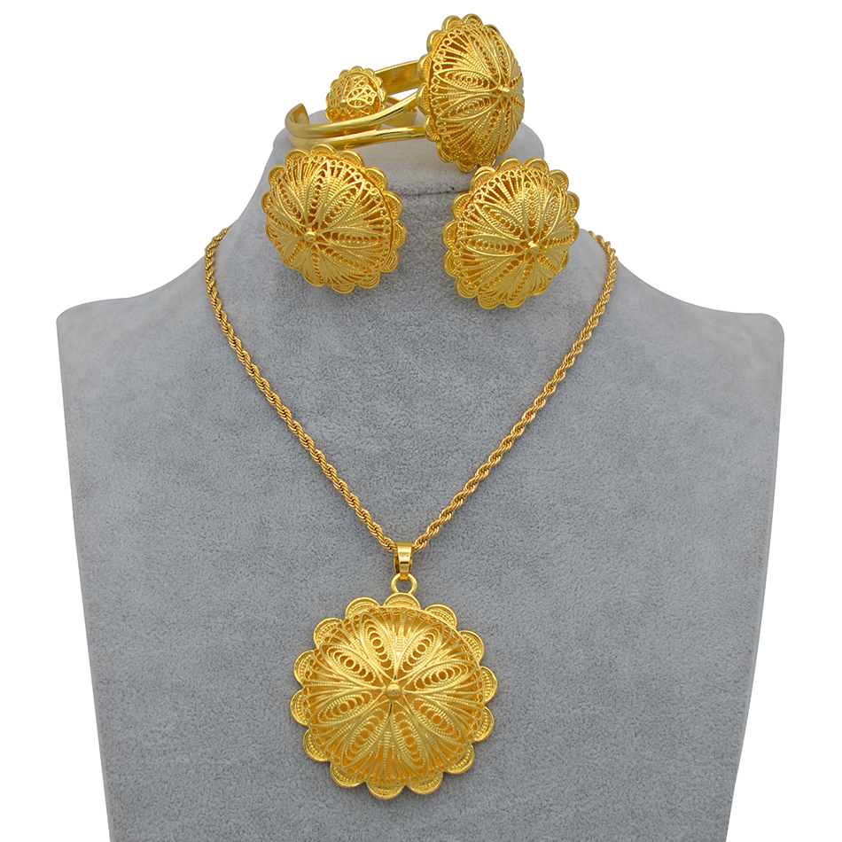 Anniyo Ethiopian Jewelry sets Pendant Necklaces Earrings Ring Bangles for Womens Gold Color Eritrean African Bride Gifts #207506 3