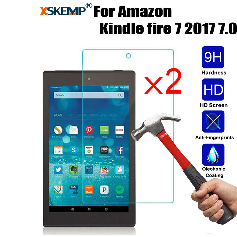 2X Tempered Glass Screen Protector Cover For Amazon Kindle fire 7 HD 8 2017 2018