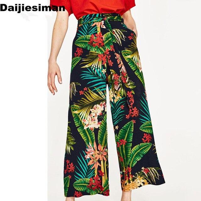 fa0fca70c6ba75 Vintage Tropical Floral Leaf Print Wide Leg Pants Sashes Tied Bow Women  High Waist Loose Trouser