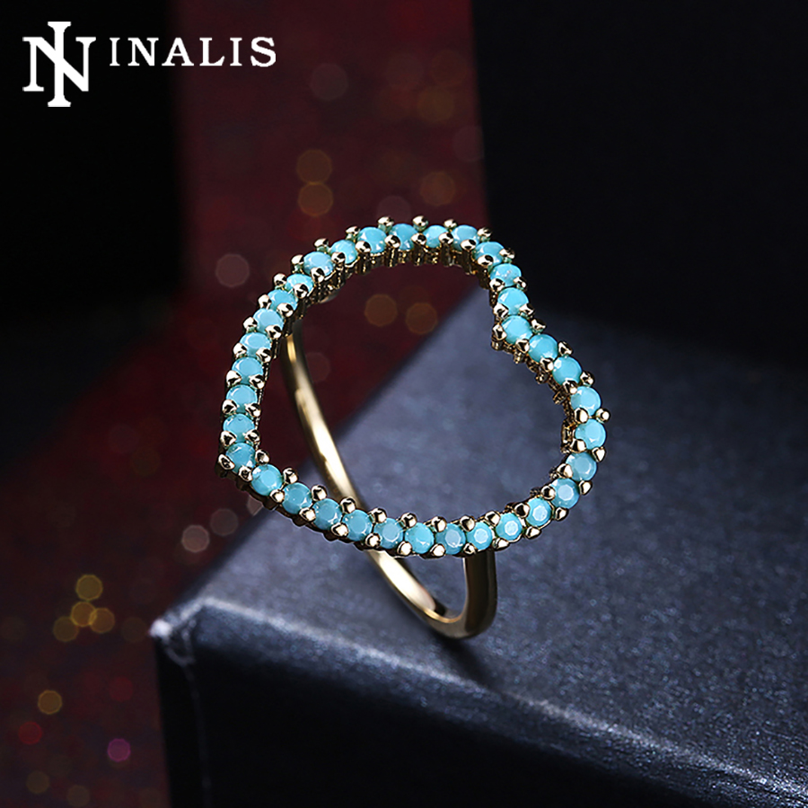 Inalis Romantic Big Heart Design Vintage Turquoises Rings For Women Gold &  Black Gold Color Wedding