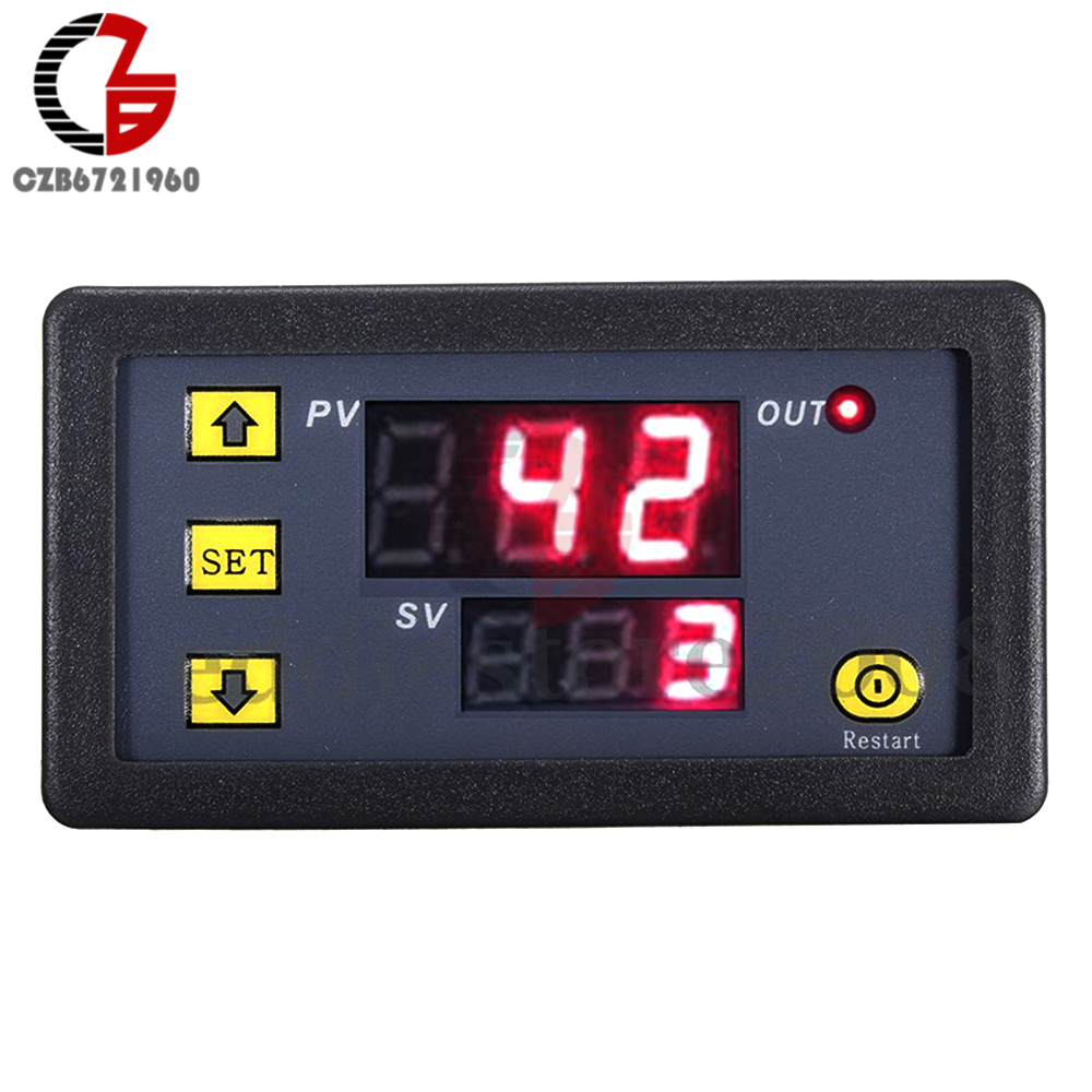 12V Timing Delay Relay Module Cycle Timer Digital LED Dual Display 0-999 mi 12v timing delay timer relay module digital led dual display cycle 0 999 hours for cycle intermittent timing mayitr