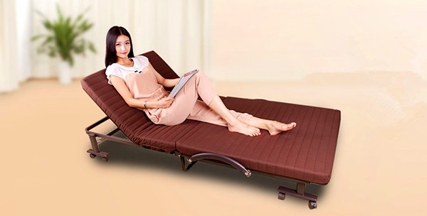 cheap folding guest bed with brown mattress foldable bed brown