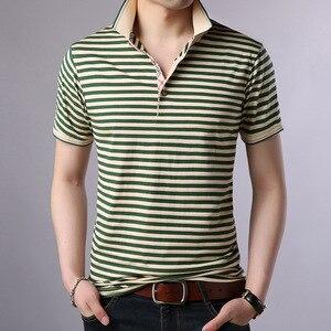 Image 3 - Thoshineブランド夏男性優れたポロシャツ 95% ビスコースファッションストライプポロシャツ通気性因果カミーサターンダウン襟