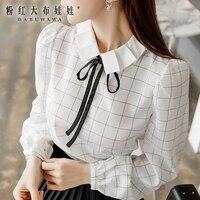 Dabuwawa Autumn 2018 Women Casual Plaid Shirts Ruffled Bow Puff Sleeve Blouses Tops