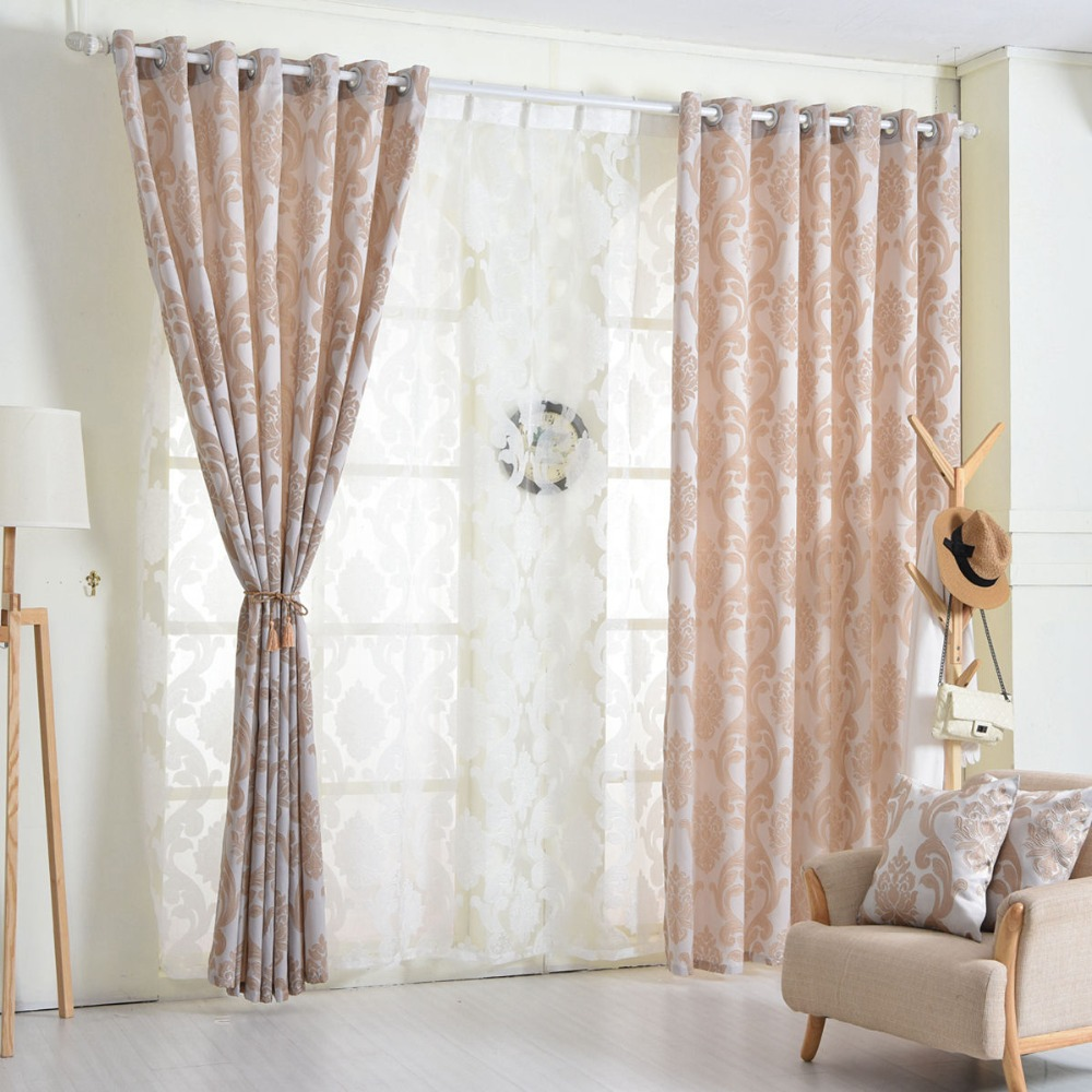 NAPEARL Curtain window living room jacquard fabrics luxury semi ...