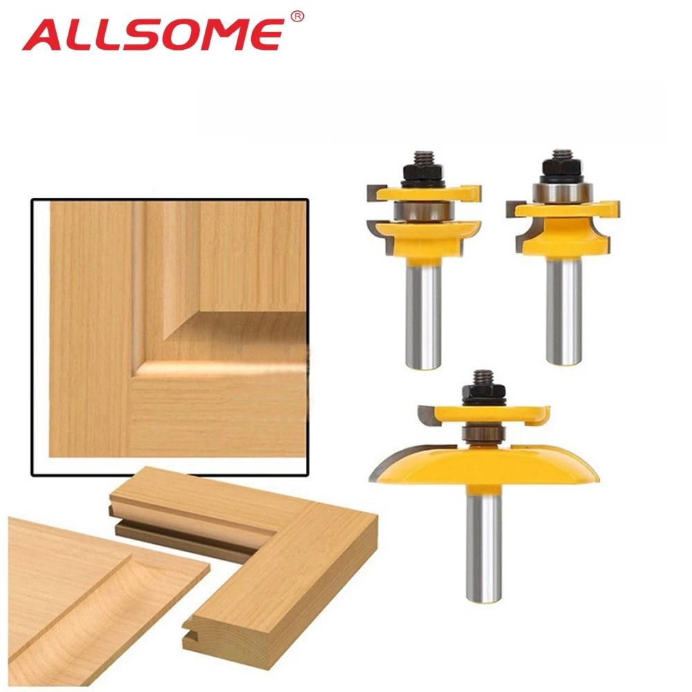 Router Bit Set Milling Cutter Cabinet Door 1//2 Shank Tools Cutting Panel Bits