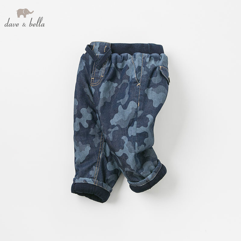 DB9210 dave bella autumn winter baby boys fashion denim blue pants camouflage jean children boutique trousers цена