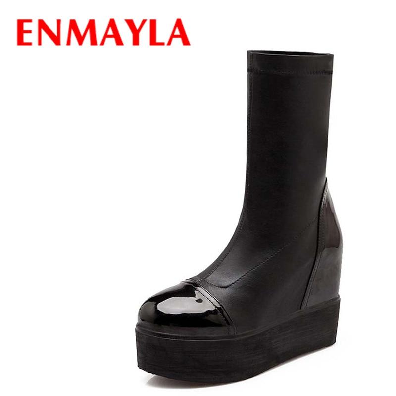 ENMAYLA Mid-Calf Tejido elástico Mujer Media Botas Cuñas Botas de nieve Tamaño de moda 43 Zapatos de plataforma planos negros Botas de mujer
